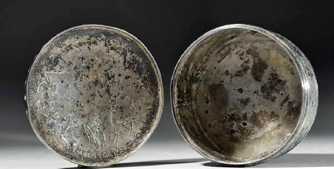 Early 20th C. Russian Enameled Silver Lidded Box - 6