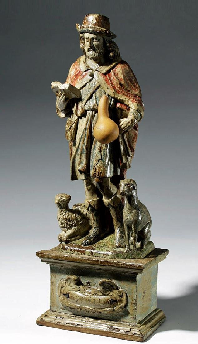18th C. Mexican Wood Santo - St. Jerome