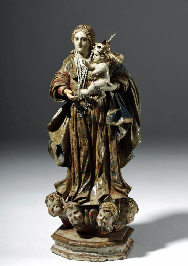 18th C. Mexican Wood Santo - Virgin & Child in Glory