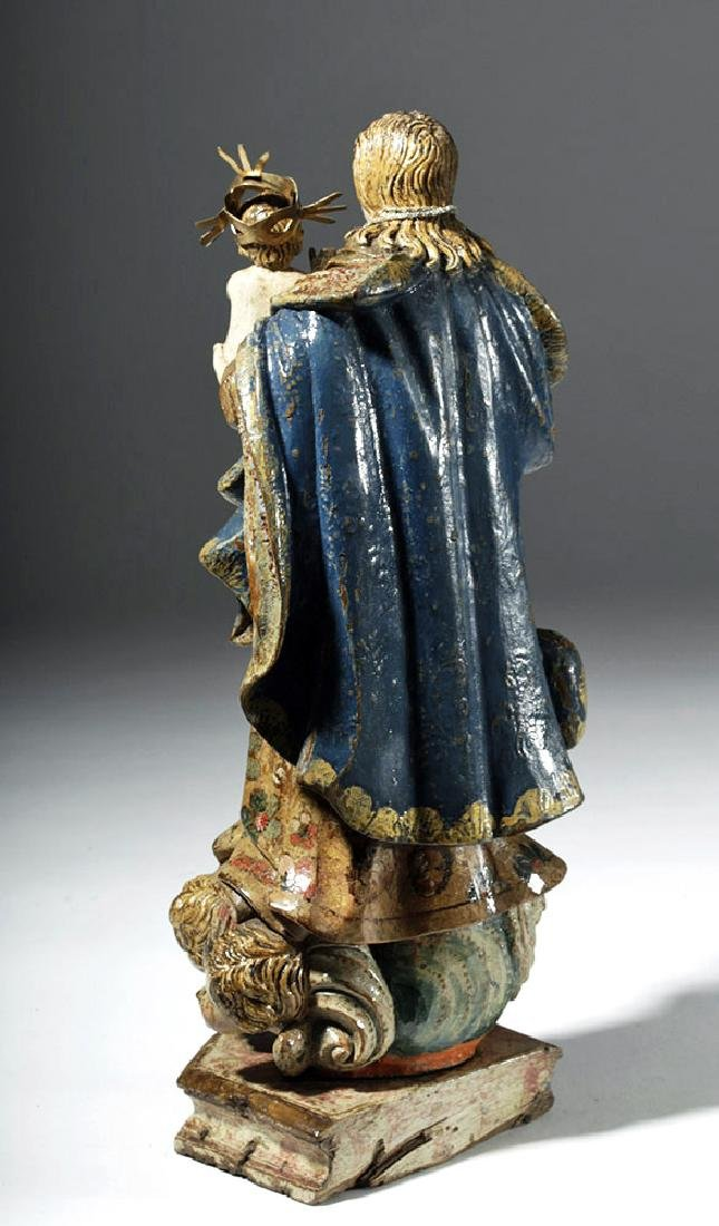 18th C. Mexican Wood Santo - Virgin & Child in Glory - 2