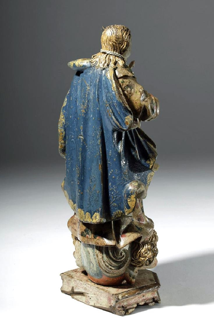 18th C. Mexican Wood Santo - Virgin & Child in Glory - 3