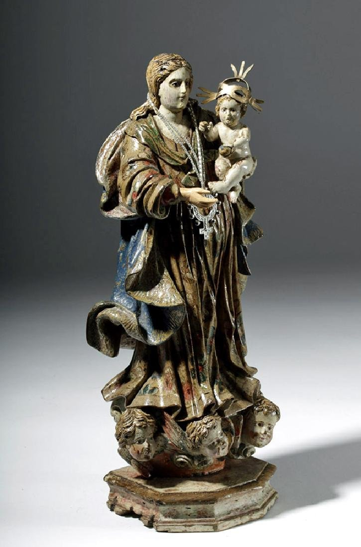 18th C. Mexican Wood Santo - Virgin & Child in Glory - 4