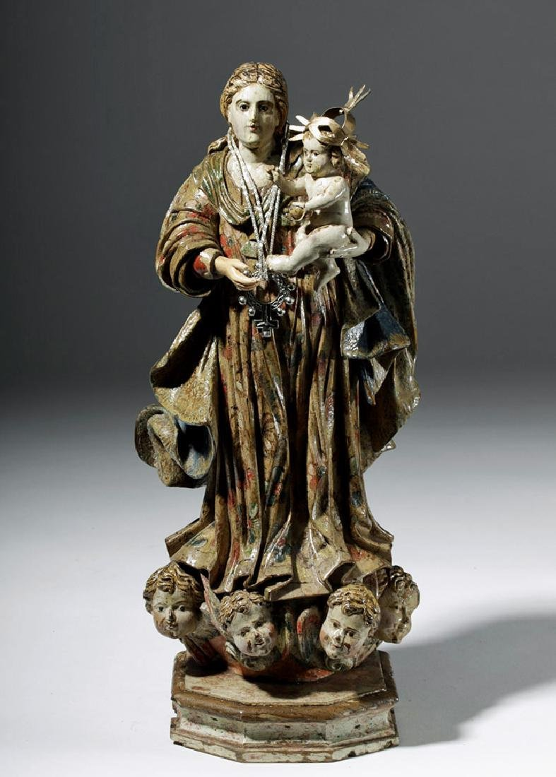 18th C. Mexican Wood Santo - Virgin & Child in Glory - 5