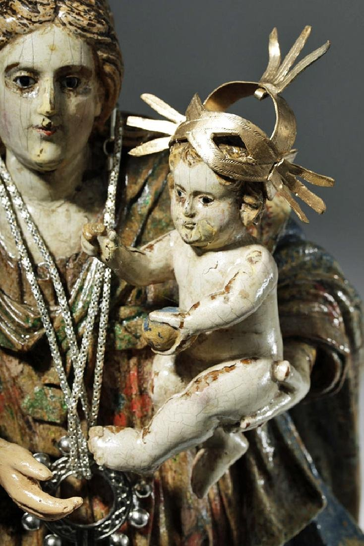 18th C. Mexican Wood Santo - Virgin & Child in Glory - 7