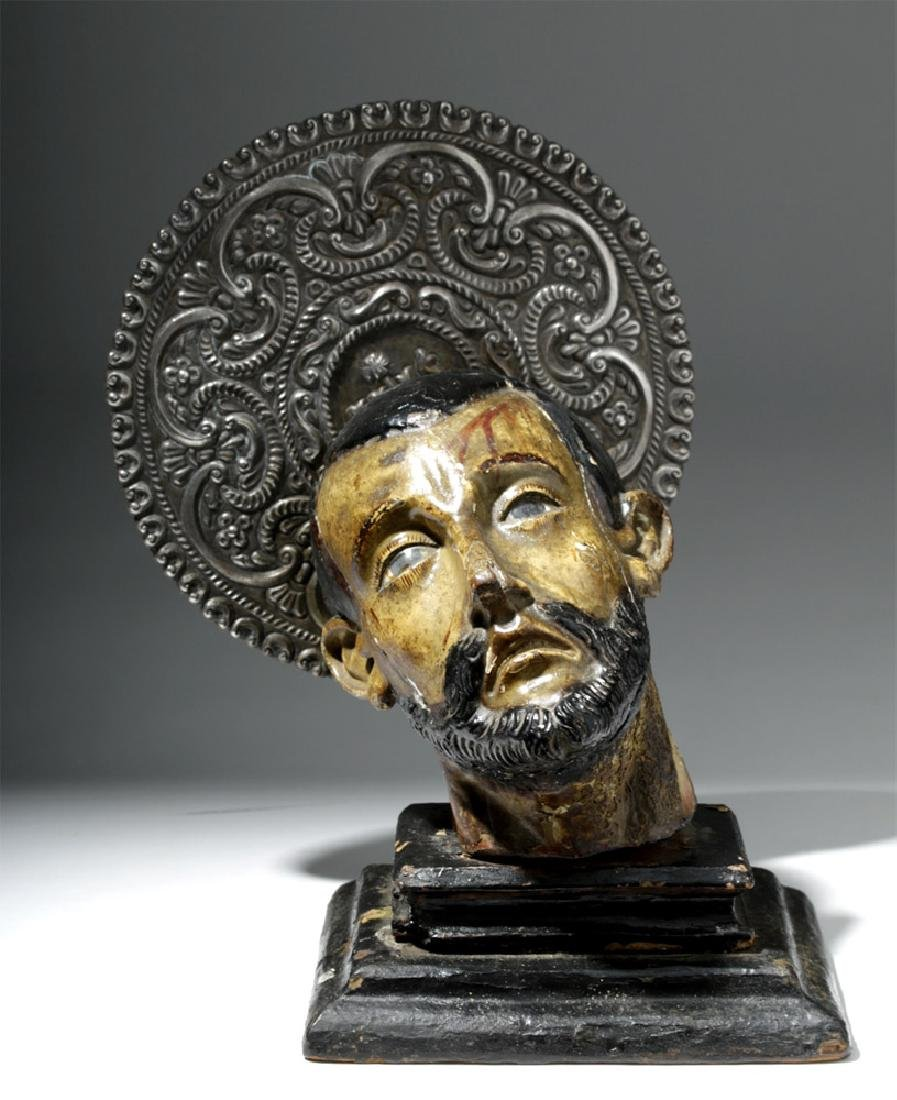 18th C. Mexican Painted Wood Severed Head - St. John