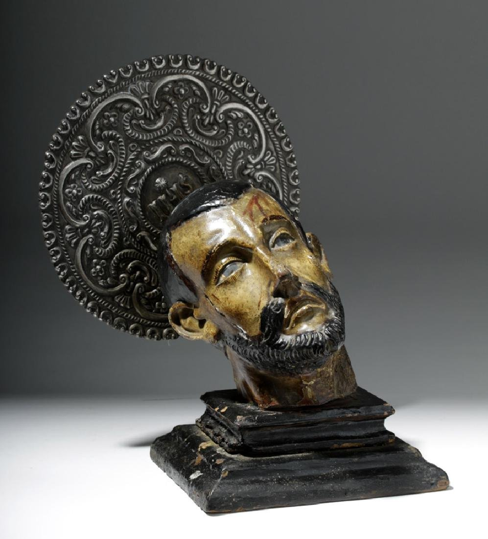 18th C. Mexican Painted Wood Severed Head - St. John - 4