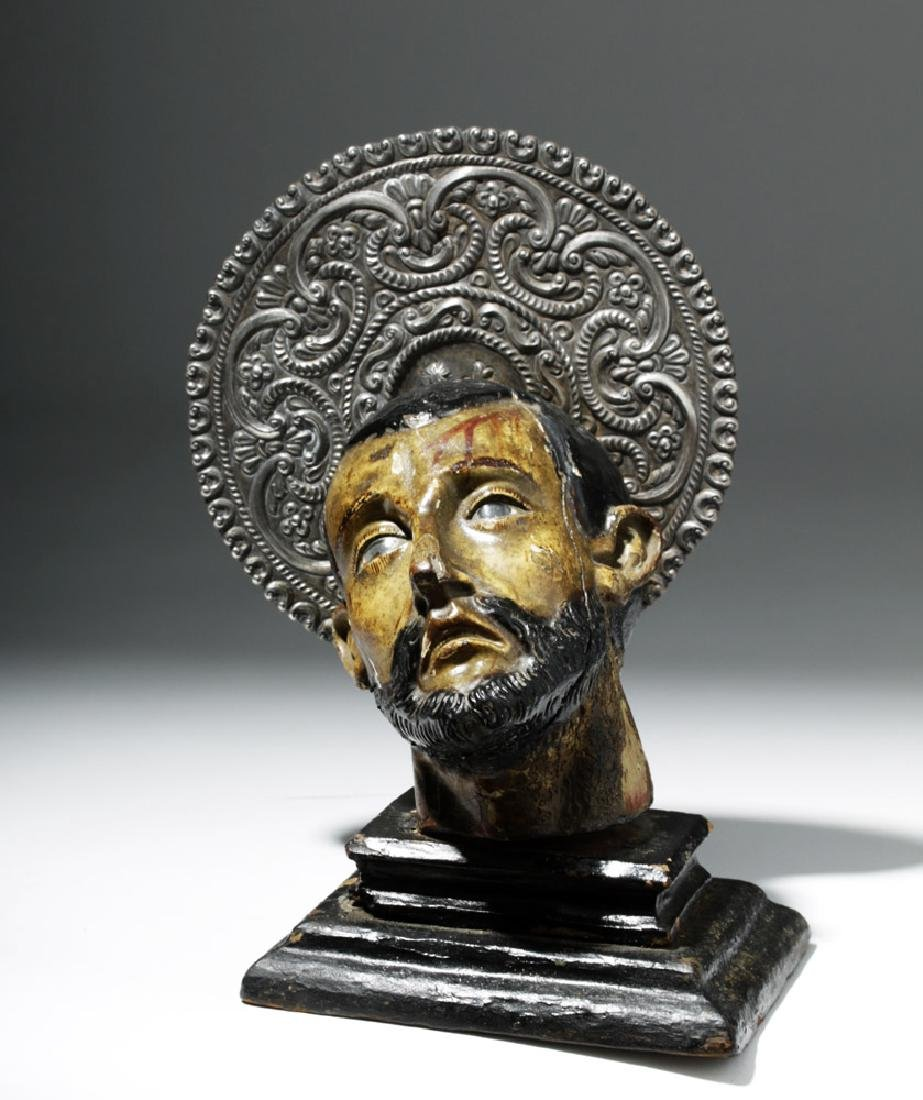 18th C. Mexican Painted Wood Severed Head - St. John - 6
