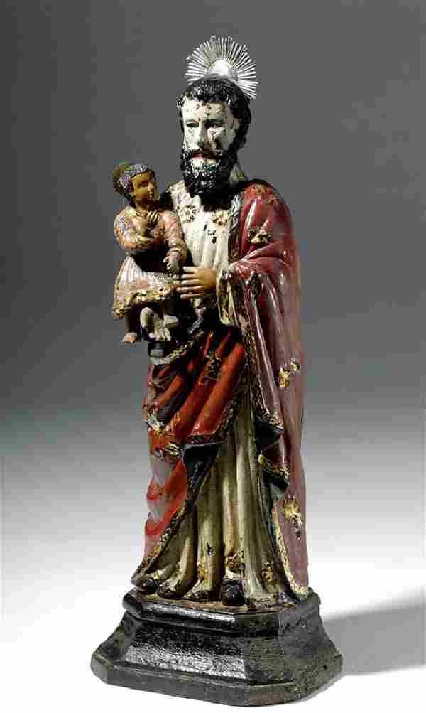 19th C. Mexican St. Joseph Wood Santo