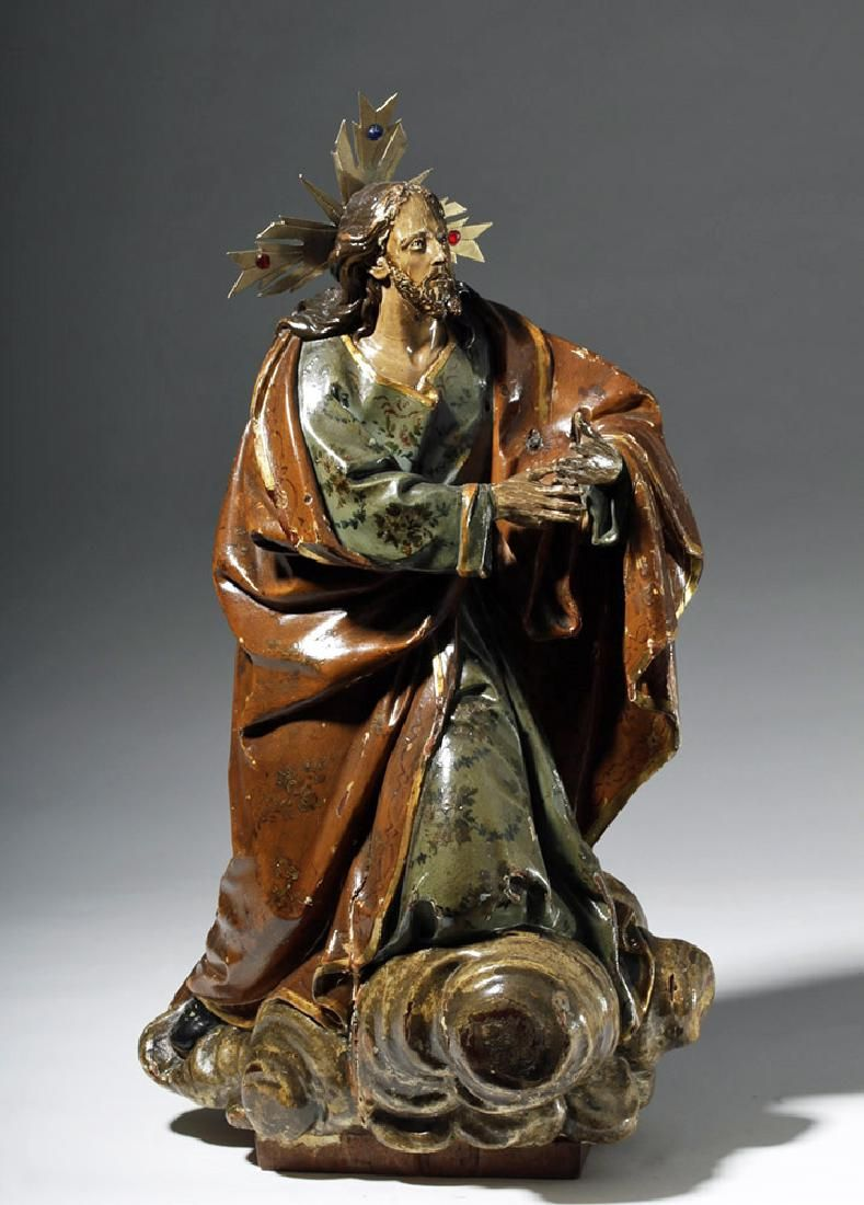19th C. Mexican Wood Santo - Jesus on a Cloud