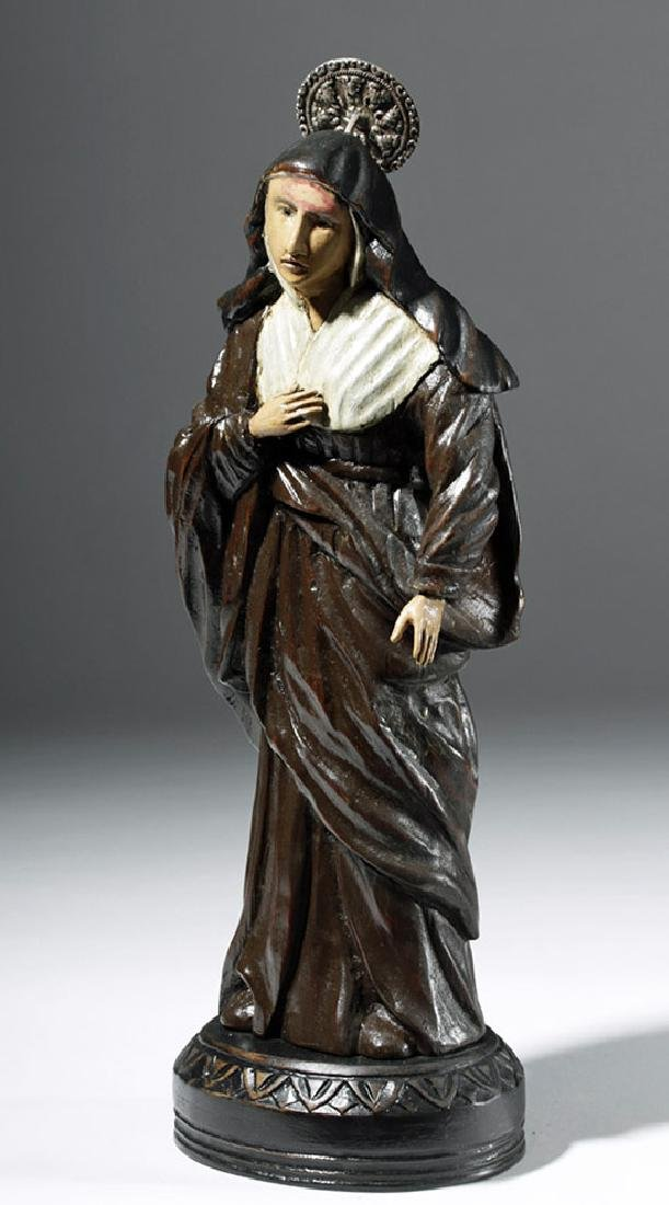 19th C. Mexican Wood Santo - St. Rita of Cascia