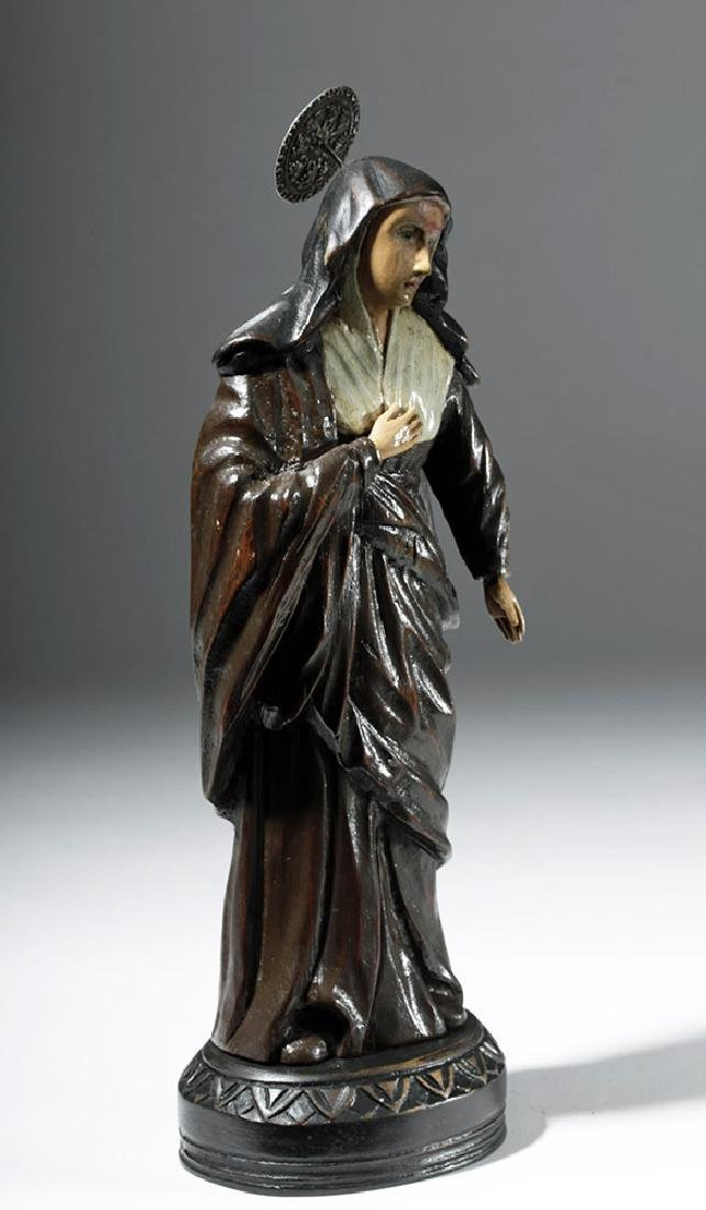 19th C. Mexican Wood Santo - St. Rita of Cascia - 4
