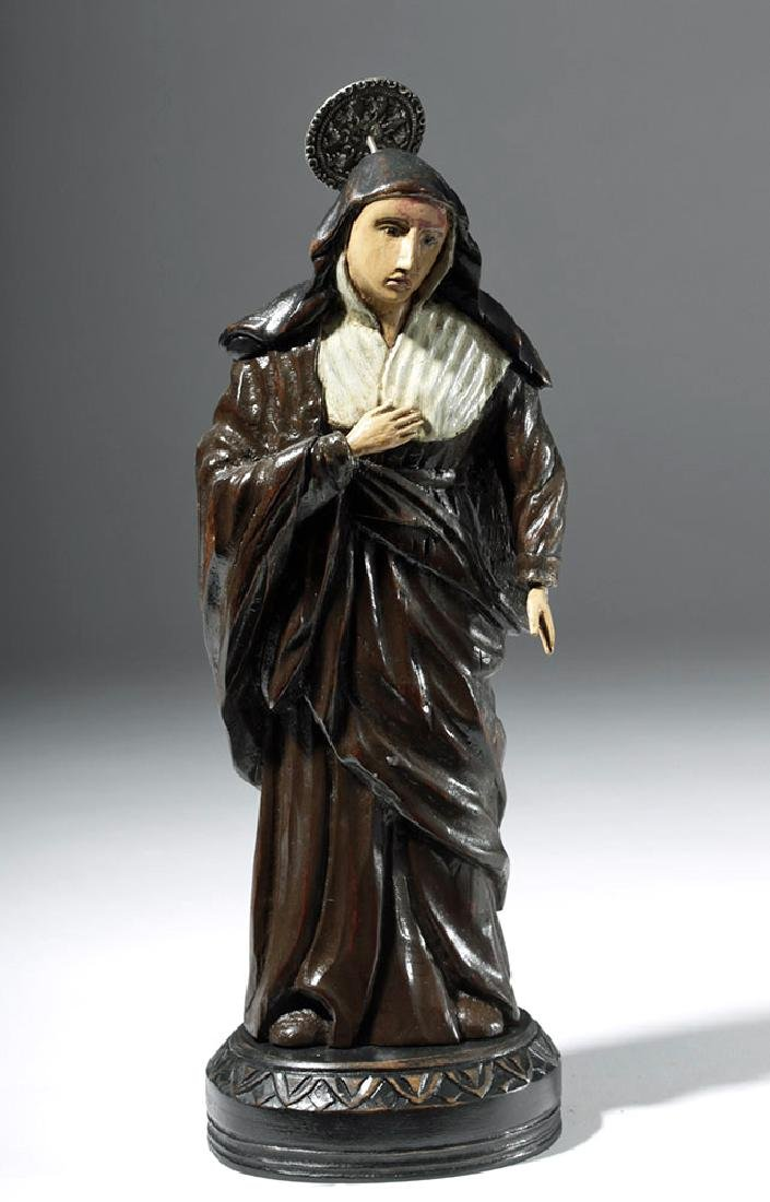 19th C. Mexican Wood Santo - St. Rita of Cascia - 5