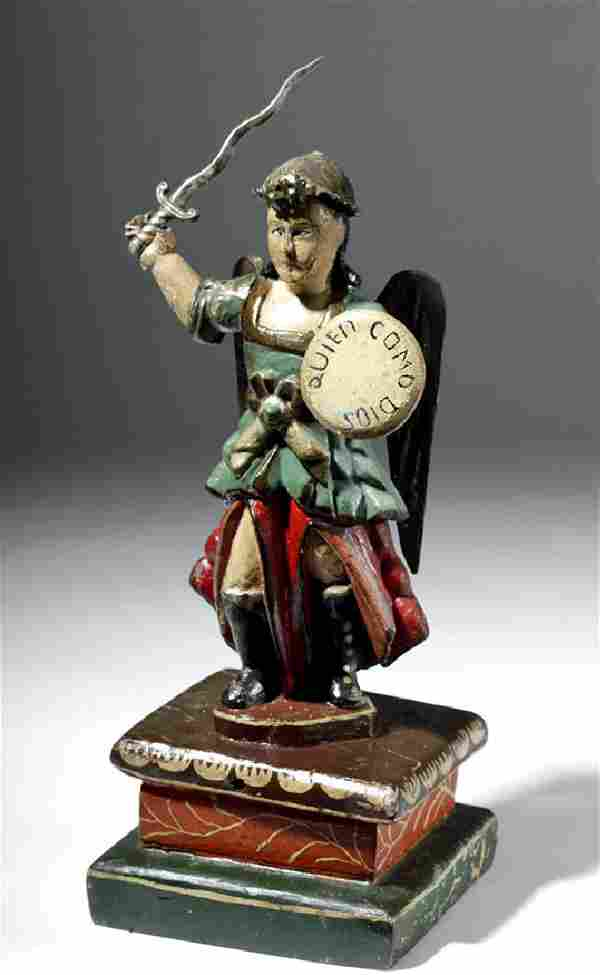 19th C. Mexican Wood Santo of St. Michael the Archangel