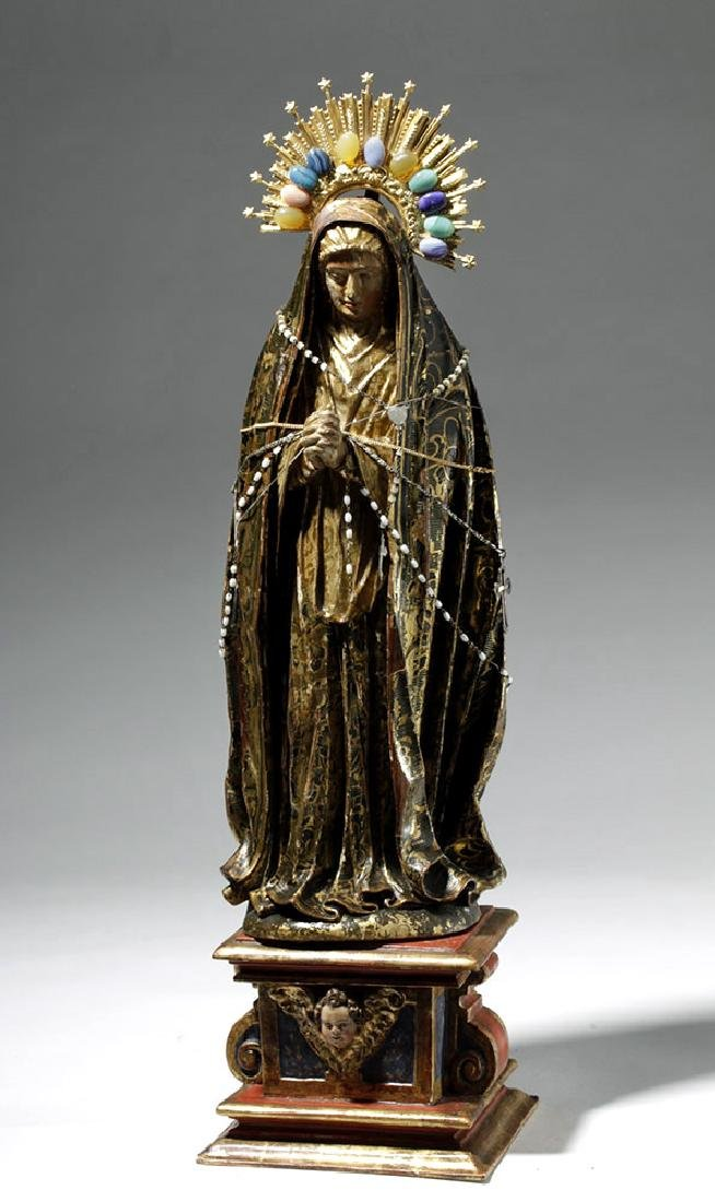 19th C. Mexican Wood Santo, Gold-Robed Virgin Mary