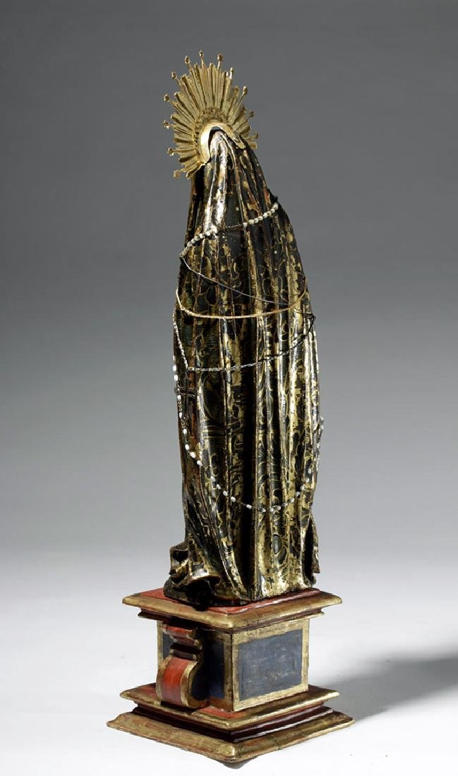 19th C. Mexican Wood Santo, Gold-Robed Virgin Mary - 2