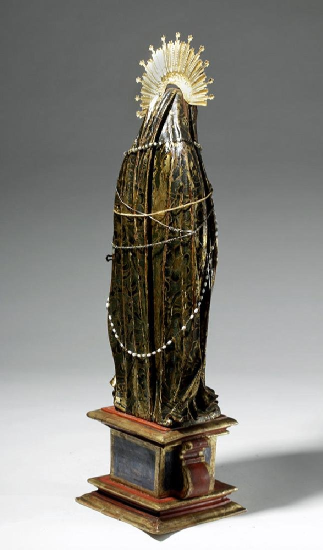 19th C. Mexican Wood Santo, Gold-Robed Virgin Mary - 3
