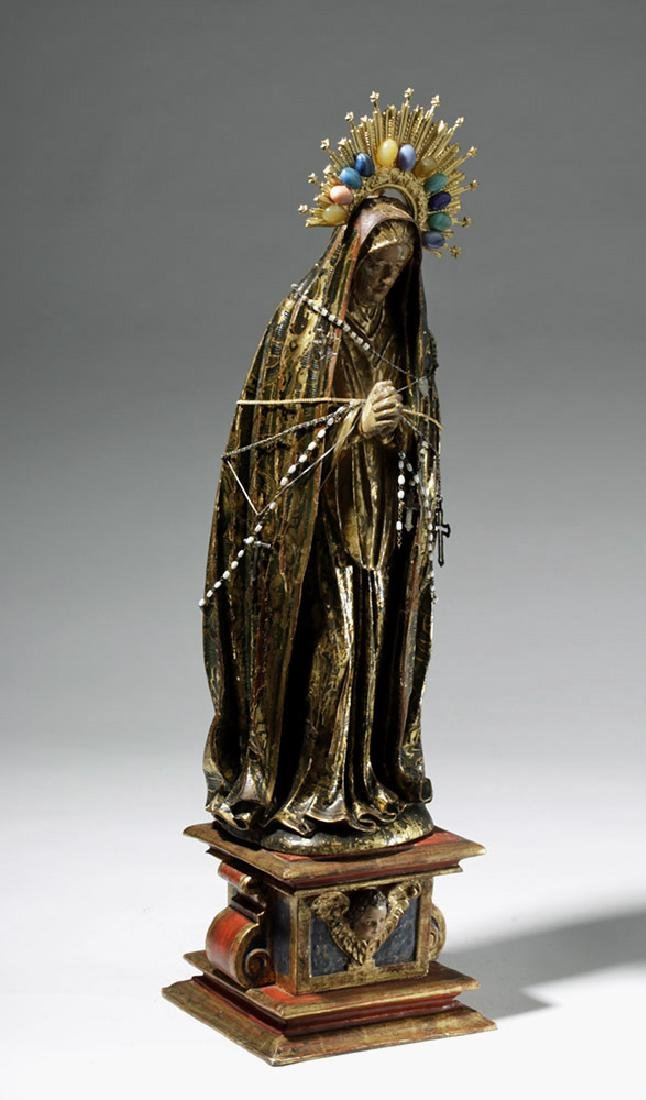 19th C. Mexican Wood Santo, Gold-Robed Virgin Mary - 4
