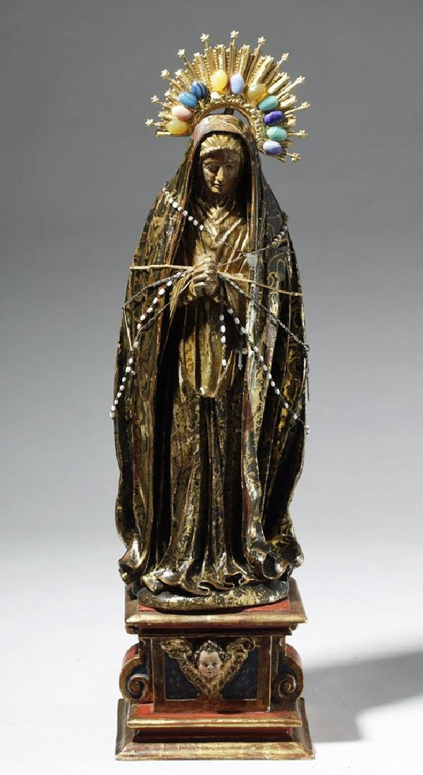19th C. Mexican Wood Santo, Gold-Robed Virgin Mary - 5