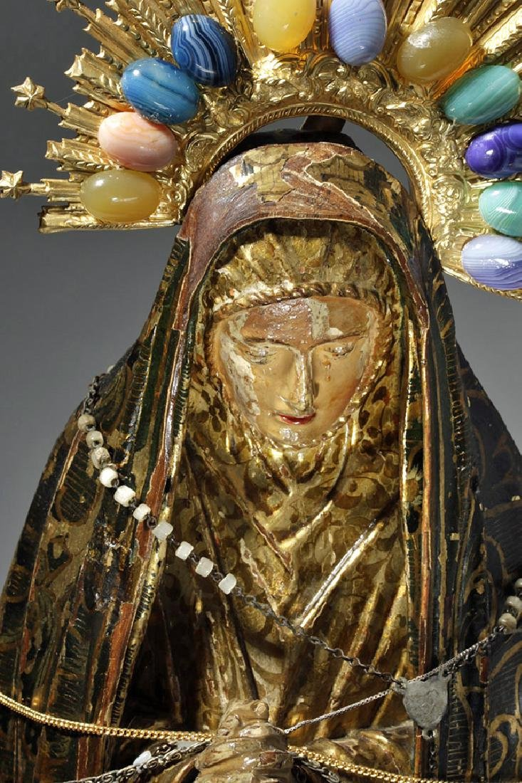 19th C. Mexican Wood Santo, Gold-Robed Virgin Mary - 6