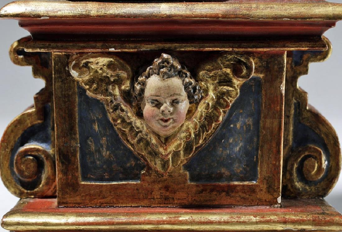 19th C. Mexican Wood Santo, Gold-Robed Virgin Mary - 7