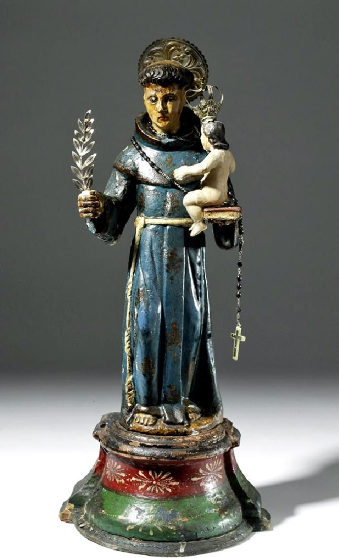 19th C. Mexican Wood St. Anthony of Padua Santo