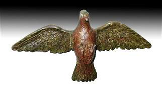 19th C. Mexican Painted Wood Dove / Santo - Holy Spirit