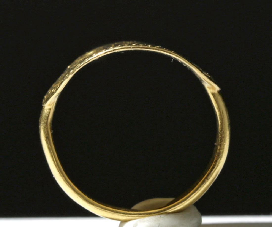 9th C. Byzantine 24K Gold Ring - Angels & Christ Child - 5