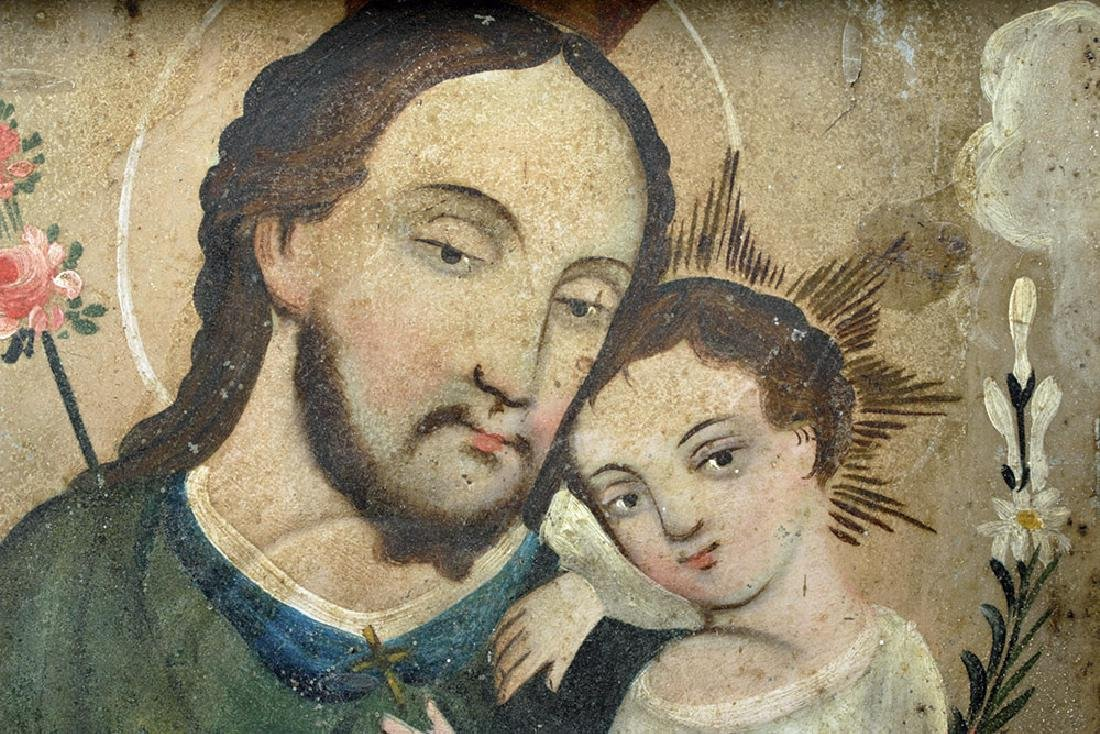 Mexican Tin Nicho & Retablo - San Jose  & Christ - 3