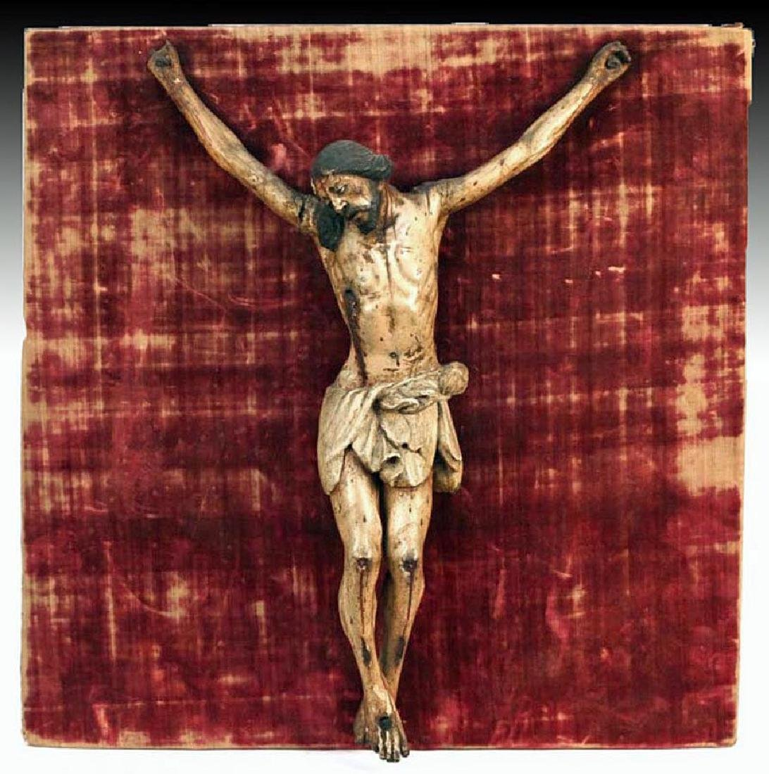 18th C. European Painted Wood Crucifix, Original Mount