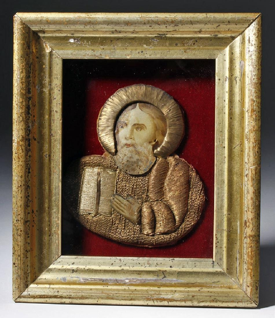 19th C. European Reliquary of Saint Mark, Gilded Thread