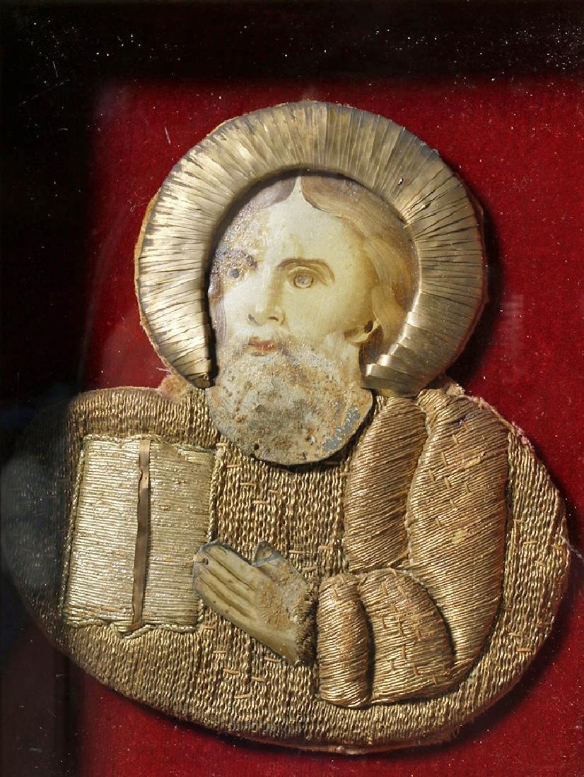 19th C. European Reliquary of Saint Mark, Gilded Thread - 2