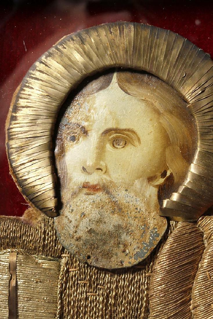 19th C. European Reliquary of Saint Mark, Gilded Thread - 3