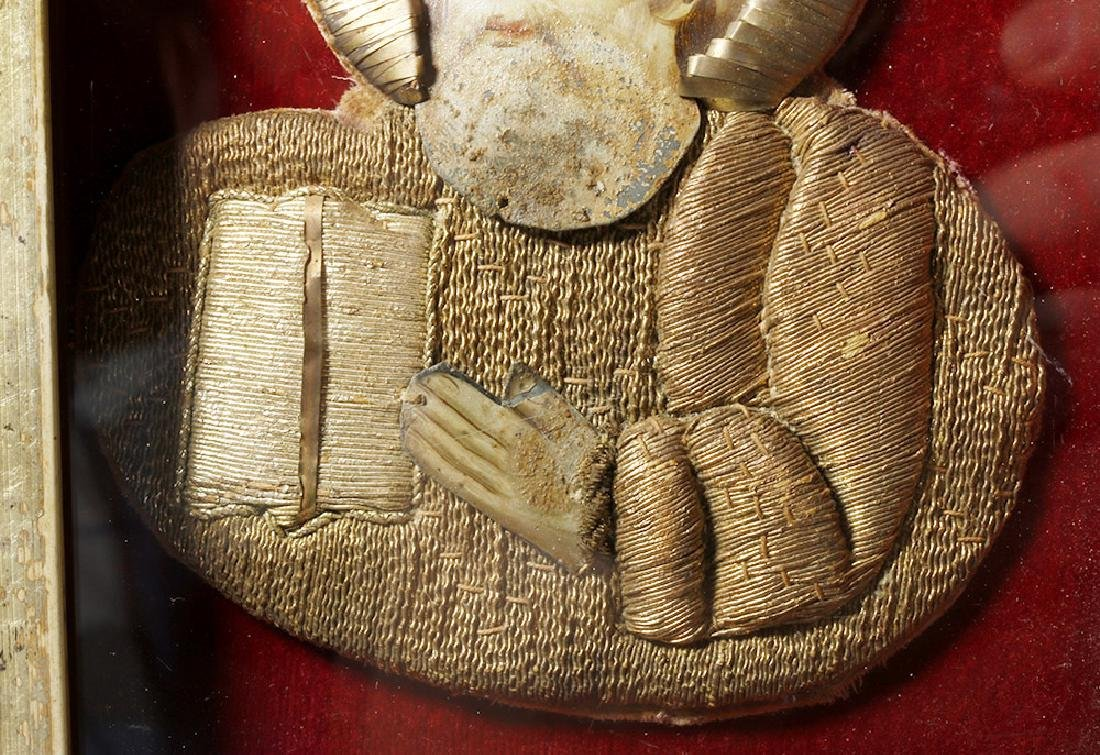 19th C. European Reliquary of Saint Mark, Gilded Thread - 4