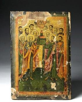 Early 18th C. Russian Wooden Icon - Synaxis