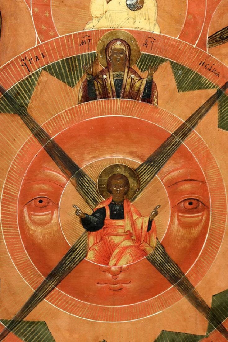 18th C. Russian Wood Icon - Cosmic Christ Pantokrator - 9