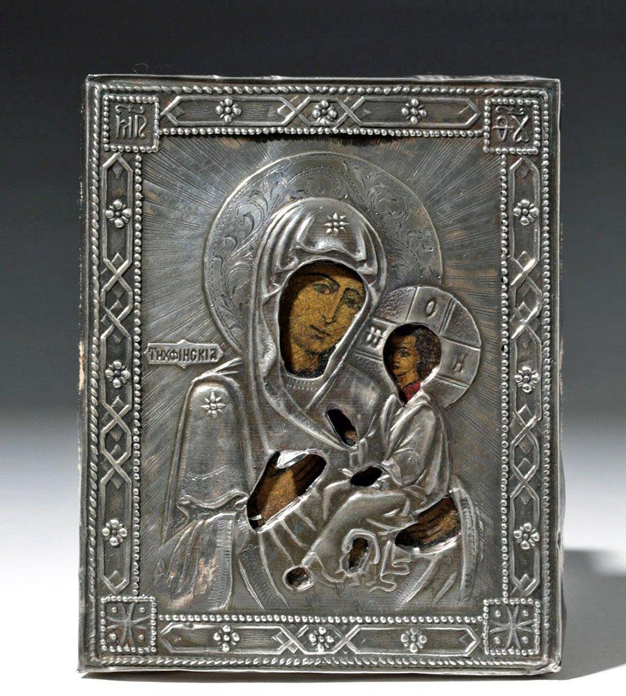 19th C. Russian Icon w/ Silver Oklad - Theotokos