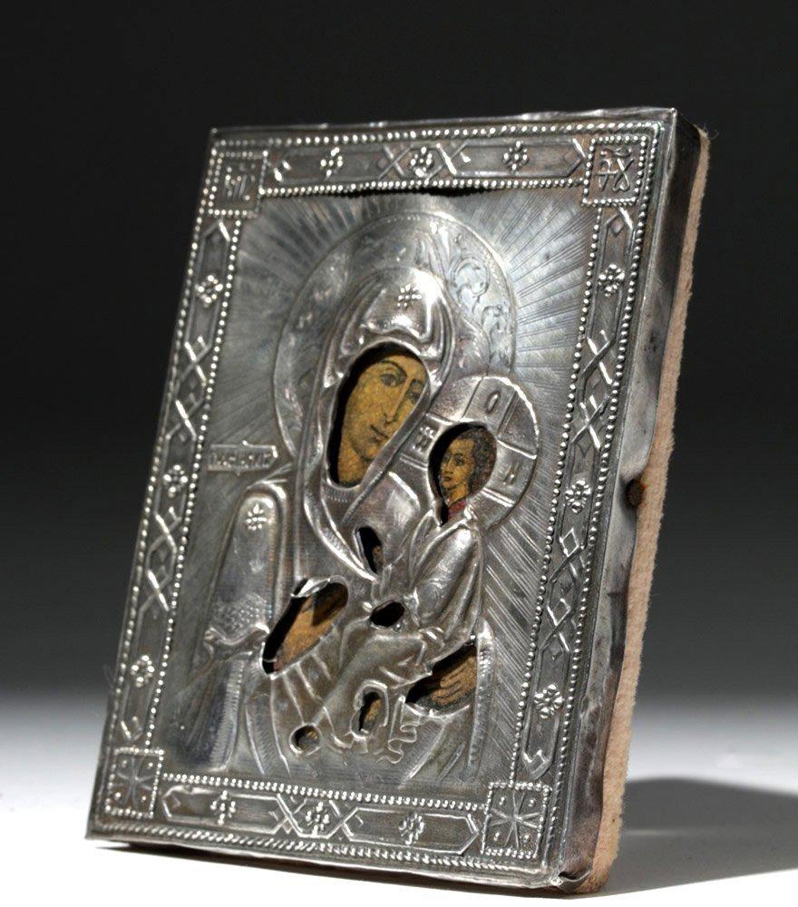 19th C. Russian Icon w/ Silver Oklad - Theotokos - 2