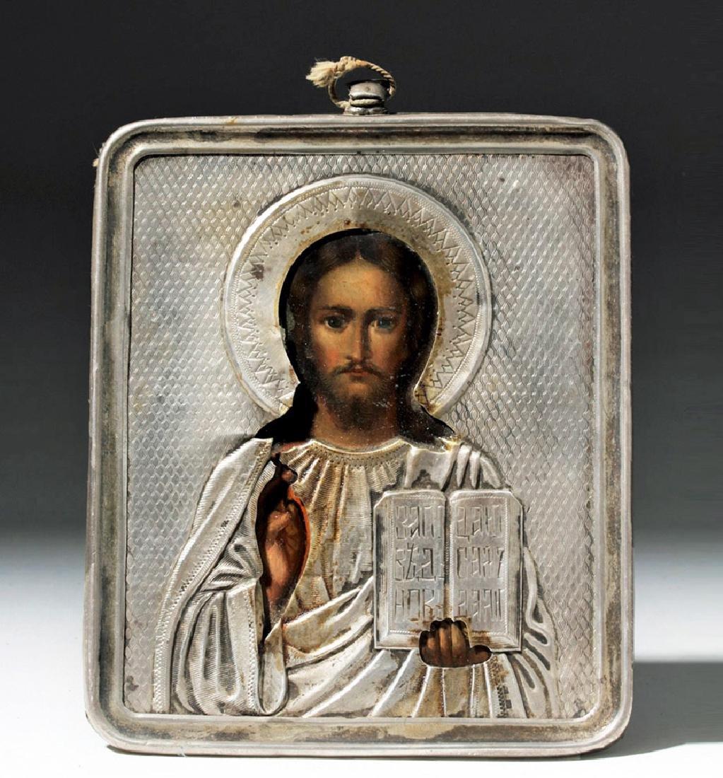 19th C. Russian Icon - Pantocrator w/ Silver Oclad