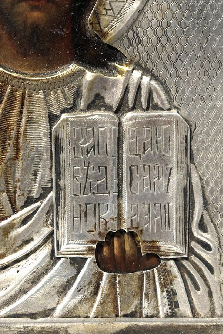 19th C. Russian Icon - Pantocrator w/ Silver Oclad - 2