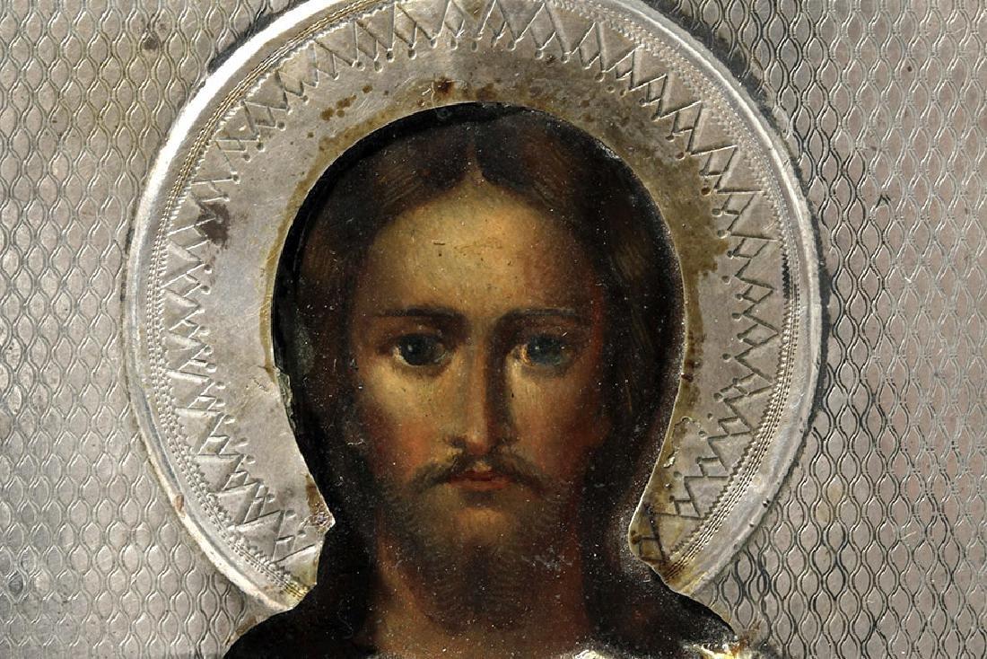 19th C. Russian Icon - Pantocrator w/ Silver Oclad - 3