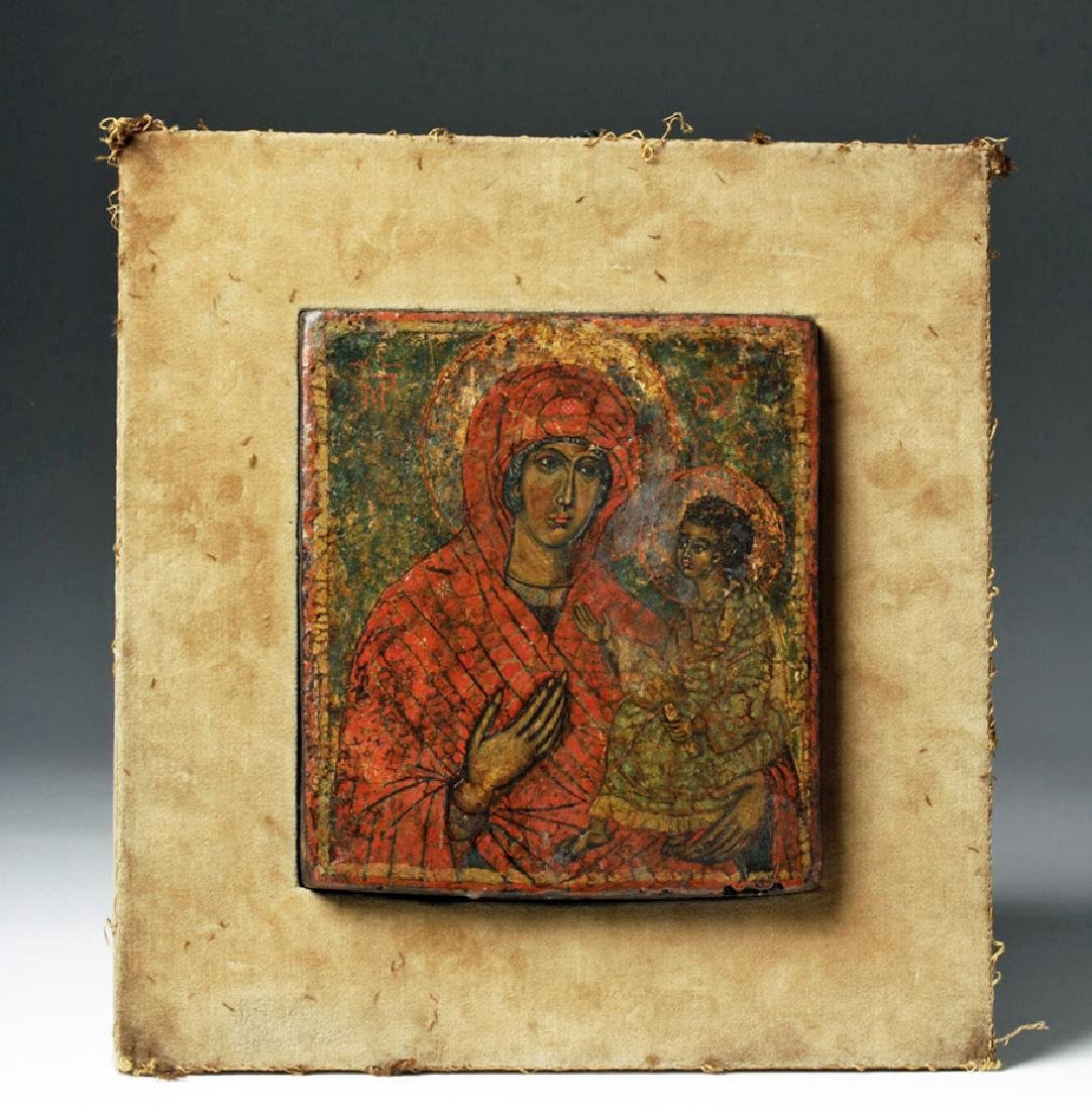 19th C. Greek Orthodox Wood Icon, Virgin Hodegetria