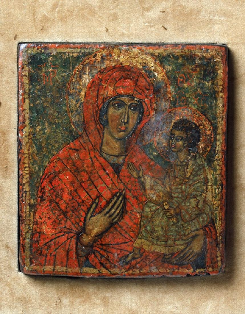 19th C. Greek Orthodox Wood Icon, Virgin Hodegetria - 2