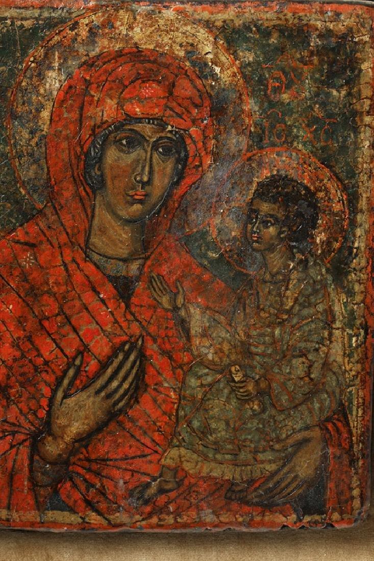 19th C. Greek Orthodox Wood Icon, Virgin Hodegetria - 3
