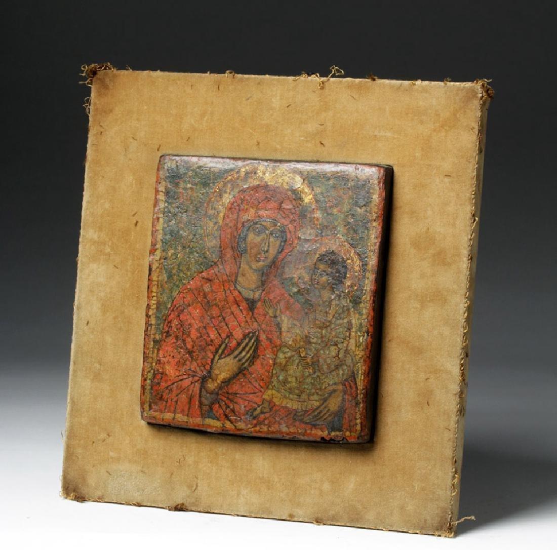 19th C. Greek Orthodox Wood Icon, Virgin Hodegetria - 4