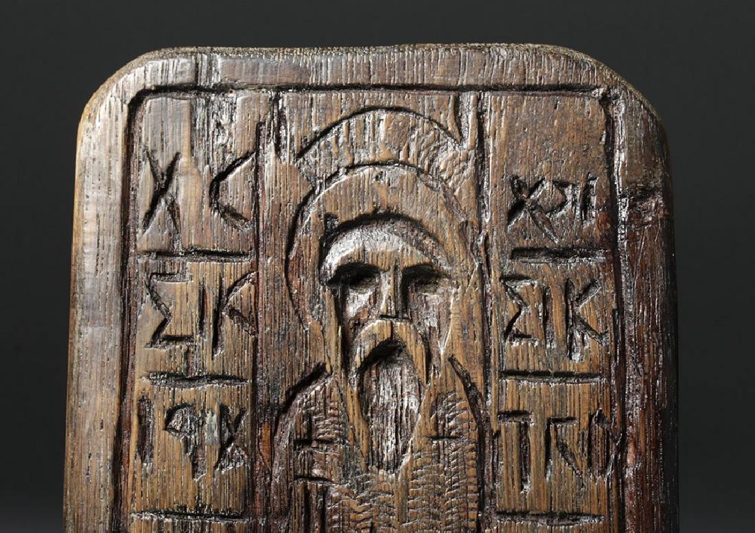 19th C. Greek Orthodox Wood Bread Stamp, Saint Nicholas - 2
