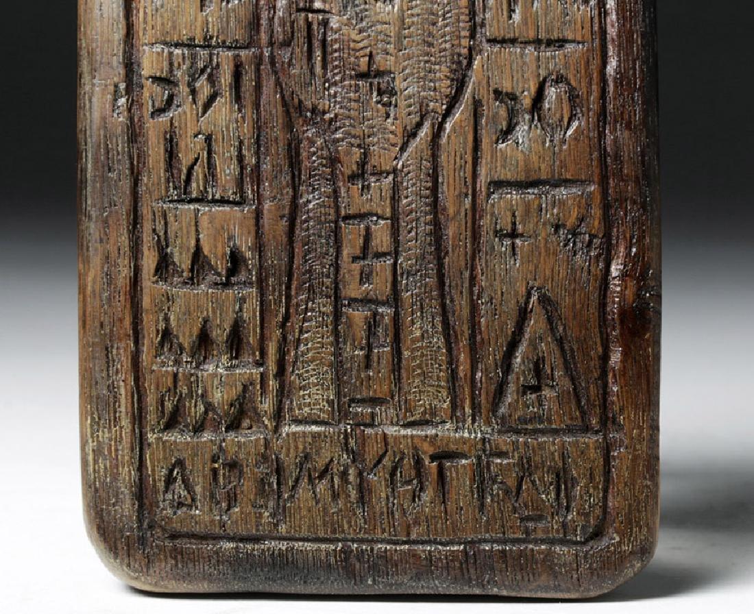 19th C. Greek Orthodox Wood Bread Stamp, Saint Nicholas - 3