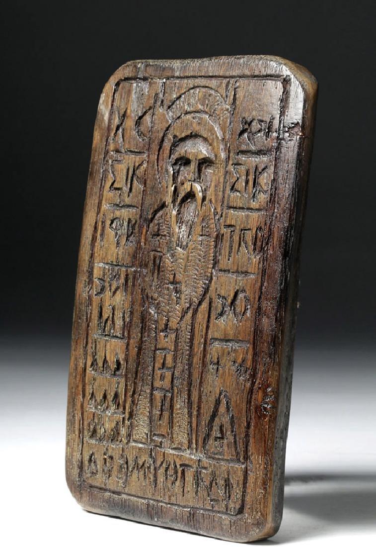19th C. Greek Orthodox Wood Bread Stamp, Saint Nicholas - 4