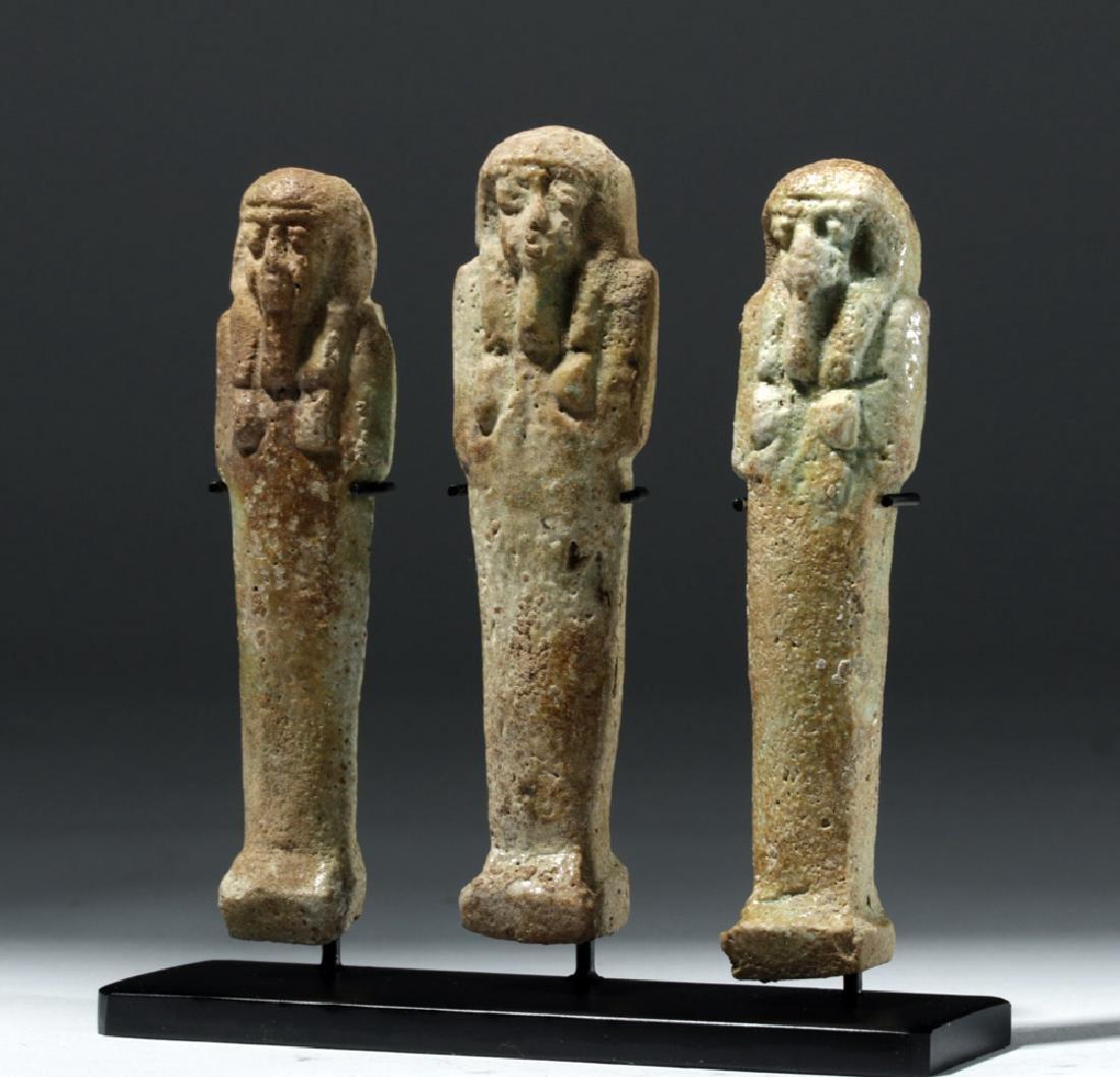 Trio of Ancient Egyptian Faience Ushabtis