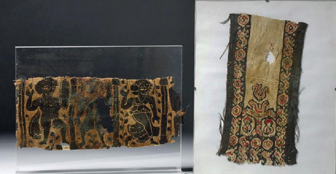 Pair of Ancient Textiles - Romano-Egyptian + Coptic