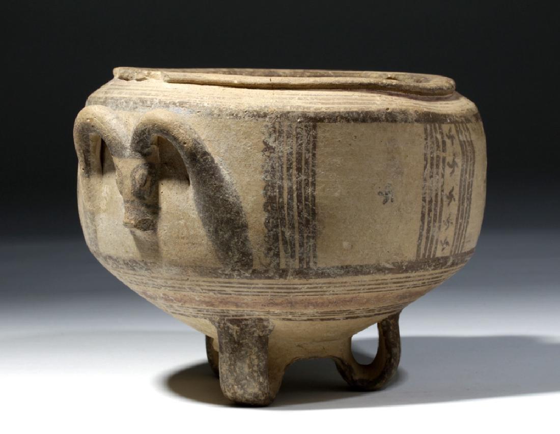 Rare Cypriot Tripod Pottery Bowl w/ Ram's Head